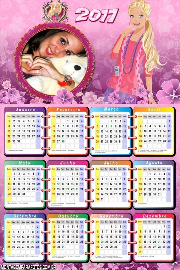 Calendário 2017 Barbie Jovem