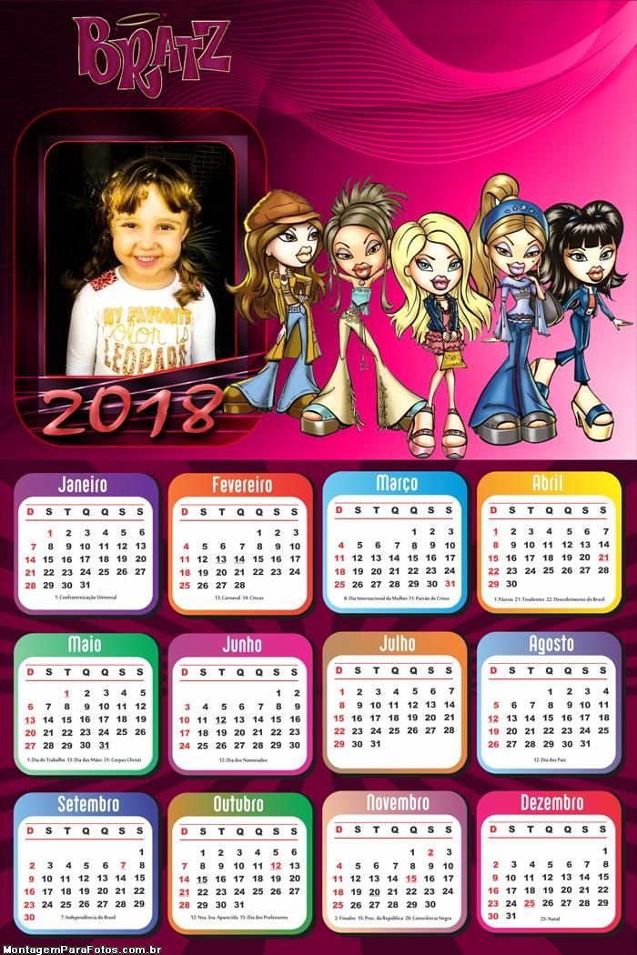 Calendário 2018 Bratz Boneca