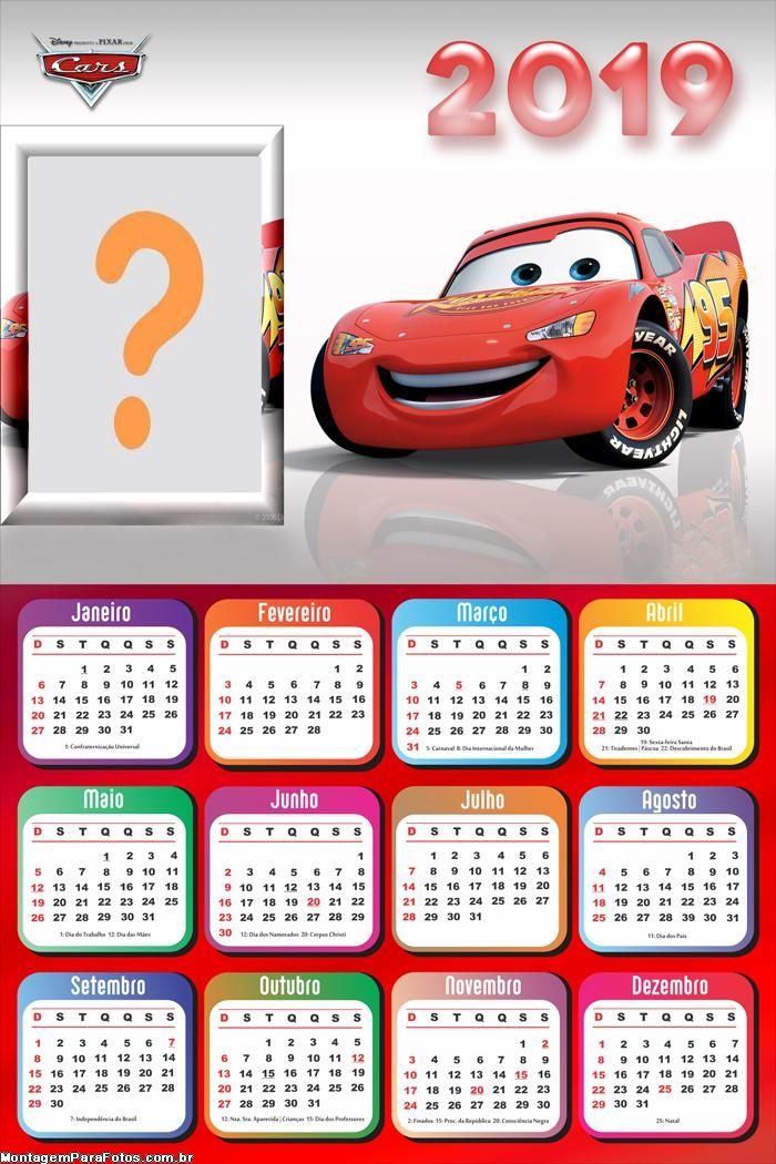 Calendário 2019 Relâmpago MCqueen