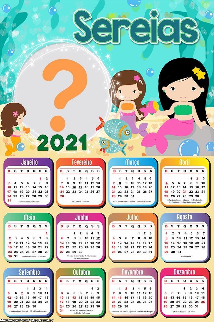 Calendário 2021 Sereias para Imprimir