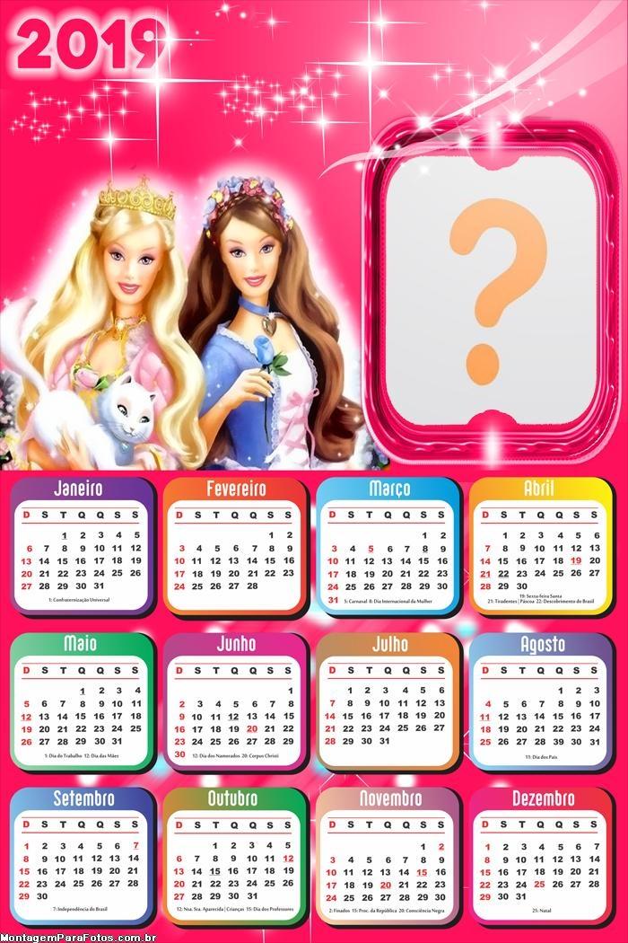 Calendário 2019 Barbie Fashionistas