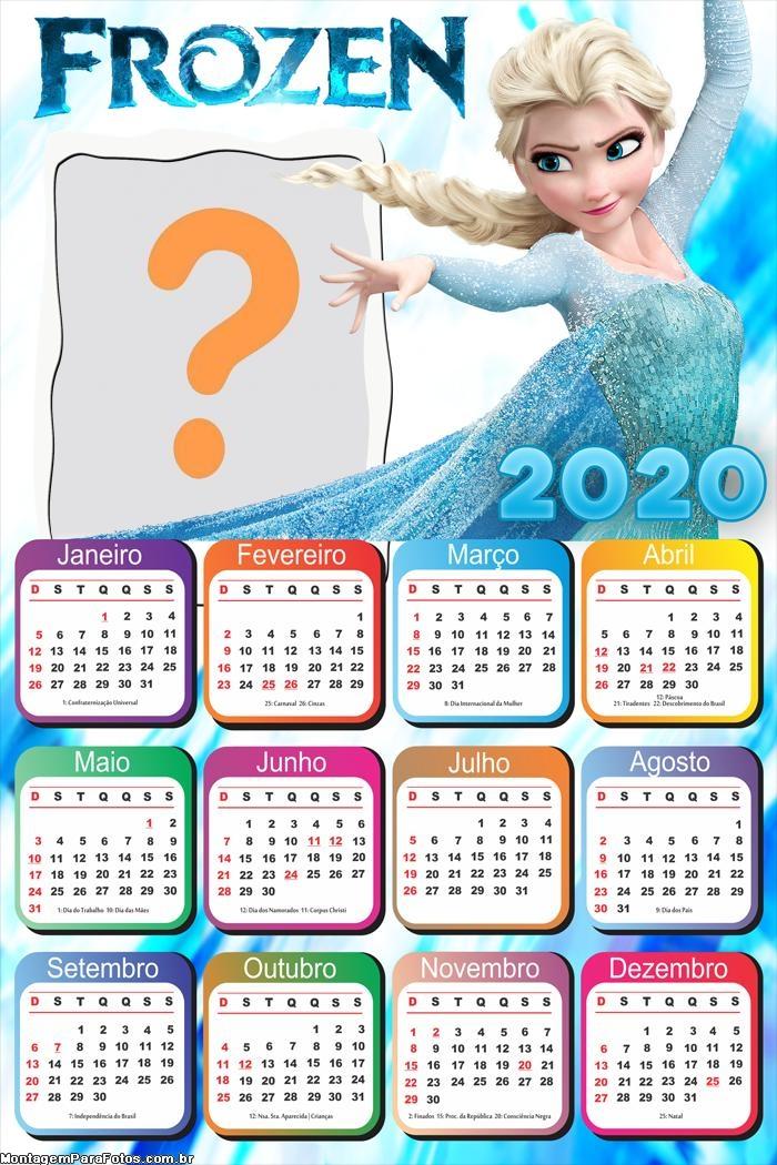 Calendário 2020 Frozen Foto Montagem