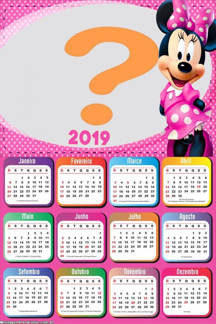 Calendário 2019 Minnie Cor de Rosa