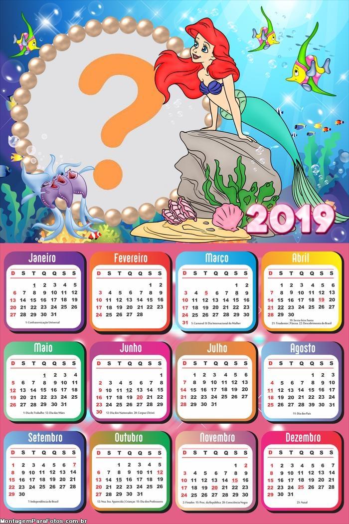 Calendário 2019 Pequena Sereia Ariel