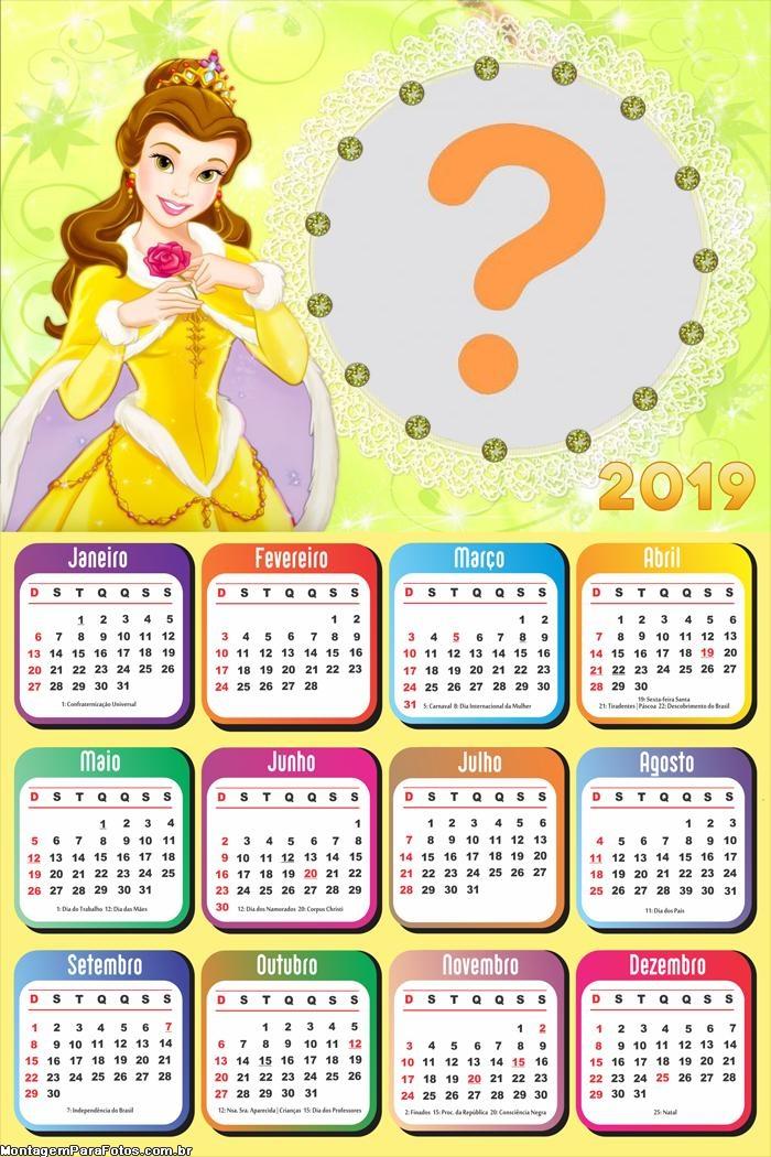 Calendário 2019 Bela Princesa Disney