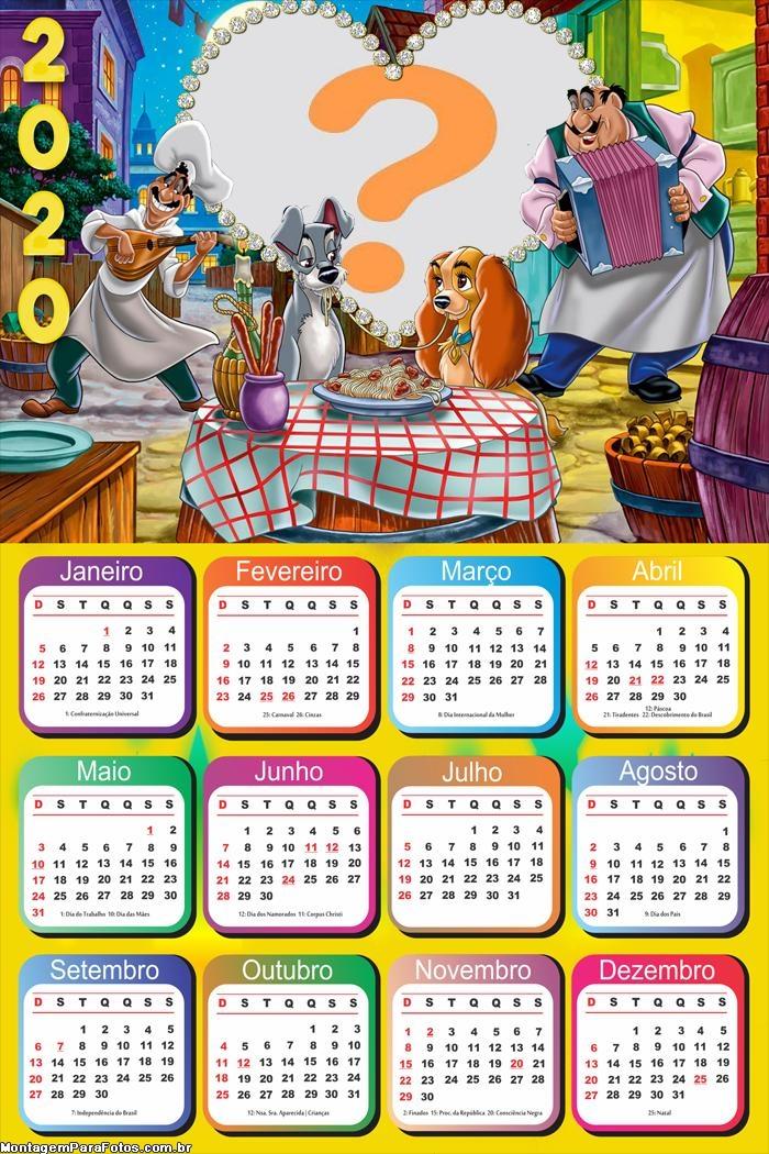 Calendário 2020 A Dama e o Vagabundo
