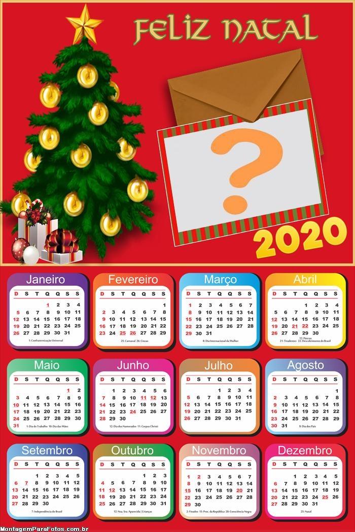 Calendário 2020 Carta de Feliz Natal Foto Montagem