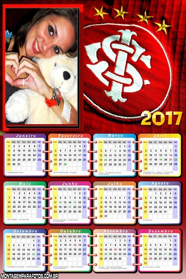 Calendário 2017 Internacional Time Futebol
