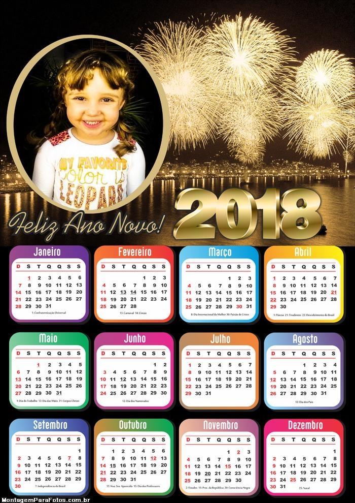 Calendário 2018 Grátis Fogo de Réveillon