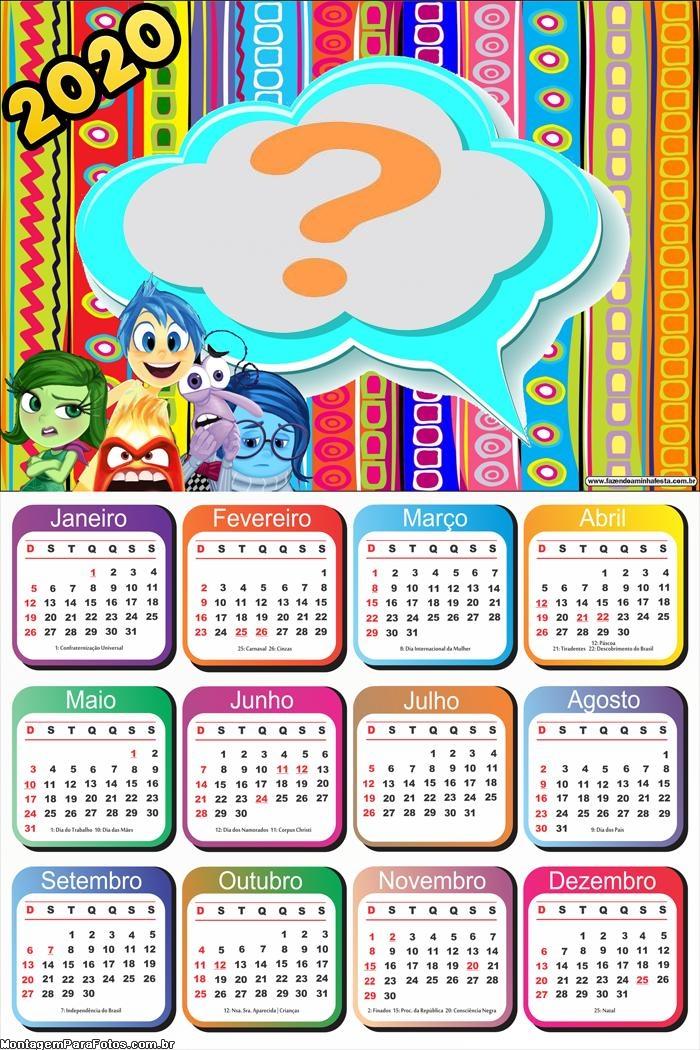 Calendário 2020 Divertidamente para Imprimir
