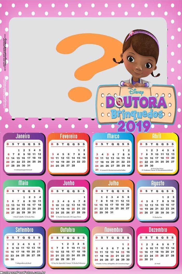 Calendário 2019 Desenho Doutora Brinquedos
