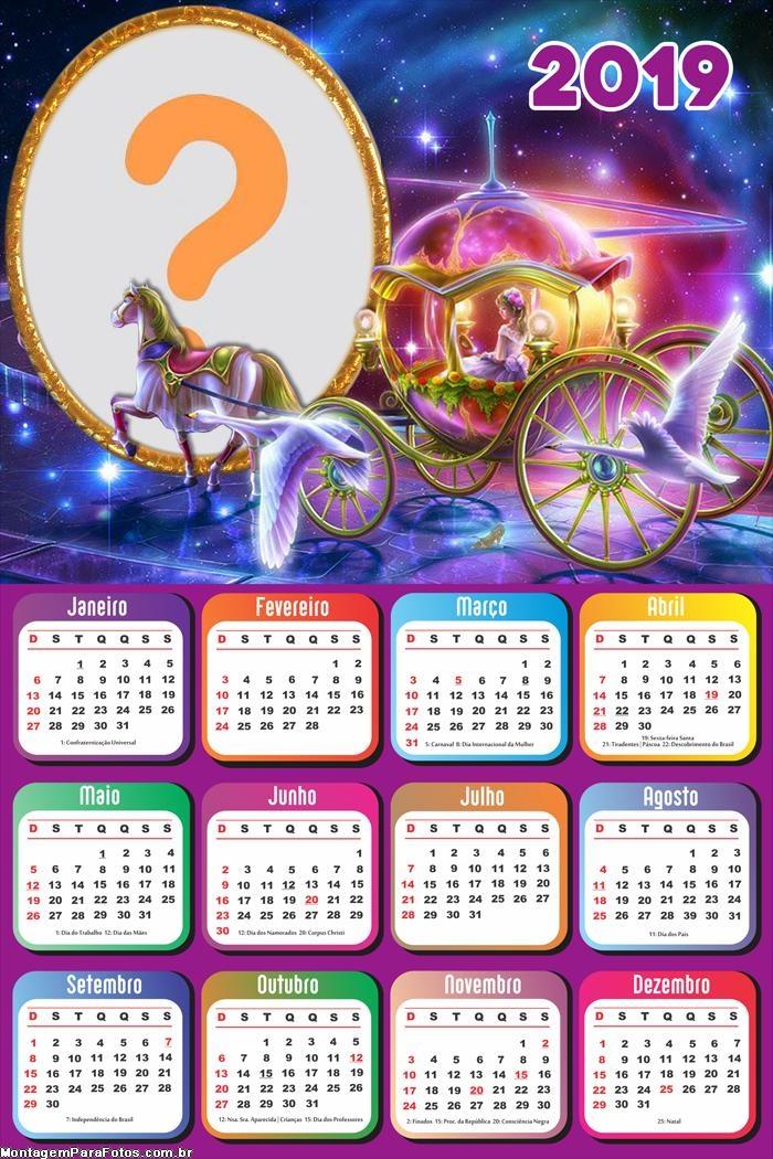 Calendário 2019 Carruagem de Princesa