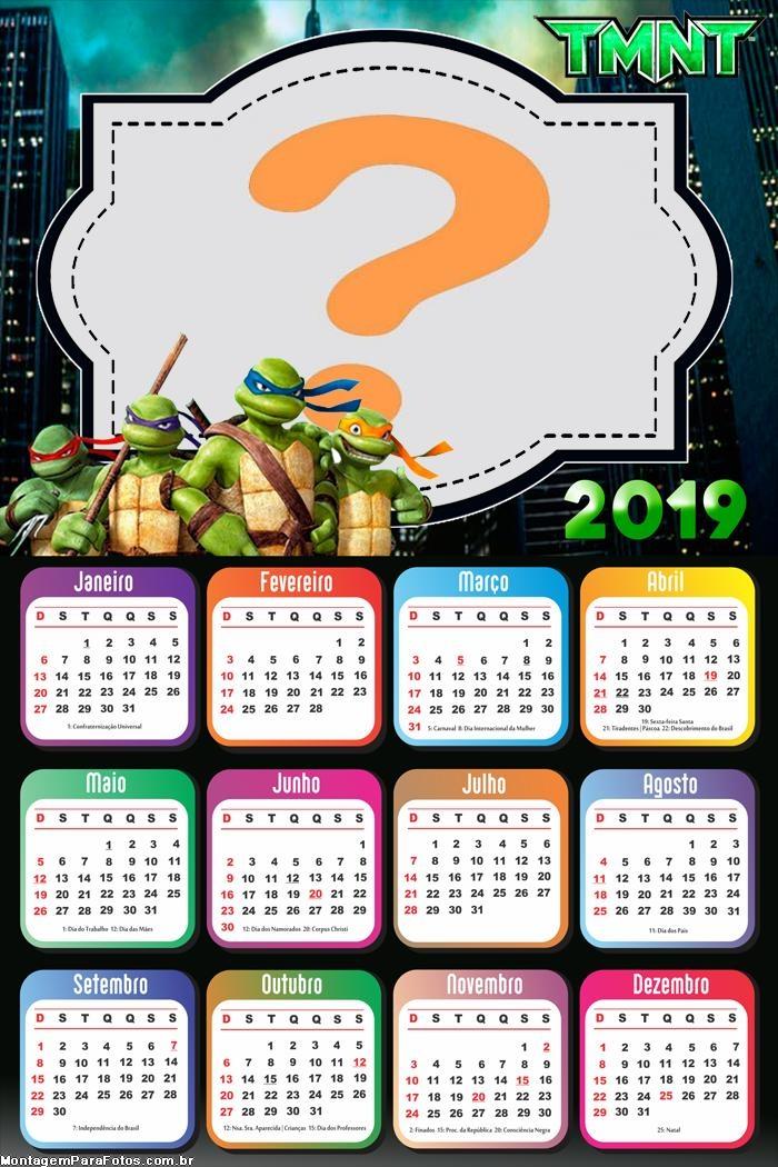 Calendário 2019 Tartarugas Ninjas