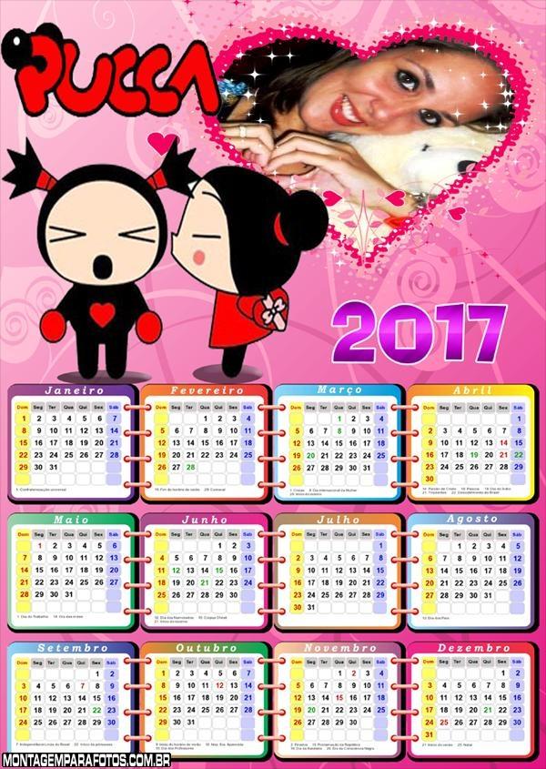 Calendário 2017 da Pucca