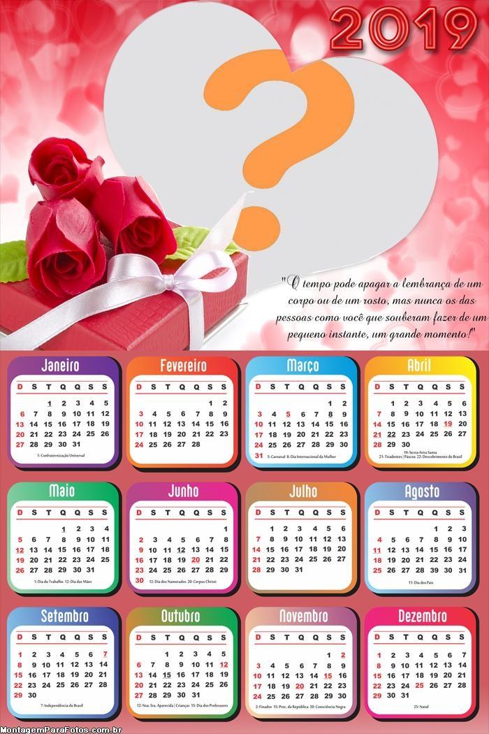 Calendário 2019 Mensagem Romântica