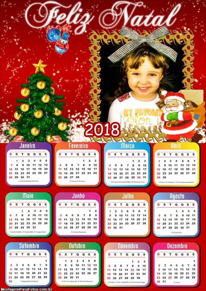 Cartão Papai Noel Foto Calendário 2018