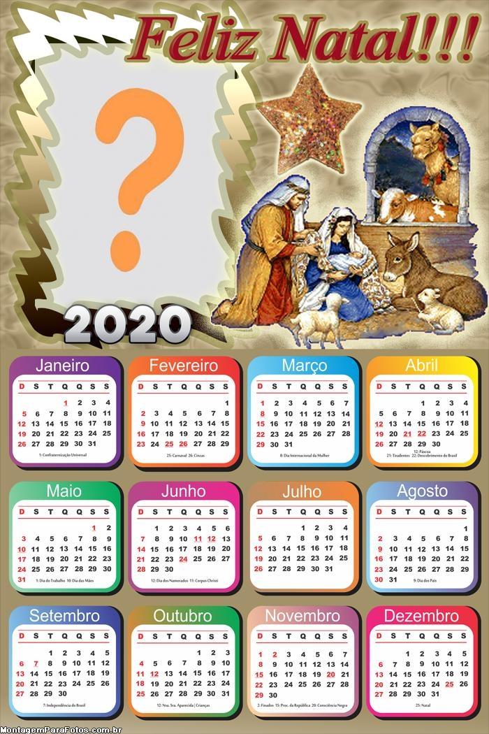 Calendário 2020 Menino Jesus Presépio Feliz Natal
