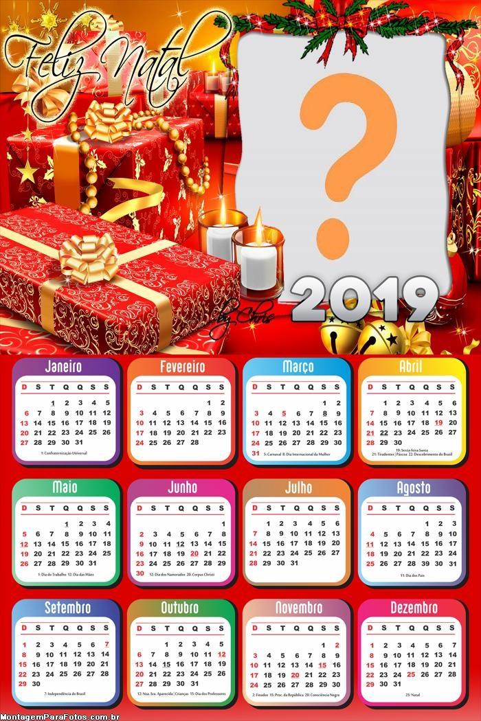 Calendário 2019 Moldura Feliz Natal