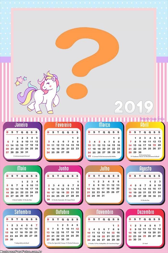 Calendário 2019 do Unicórnio