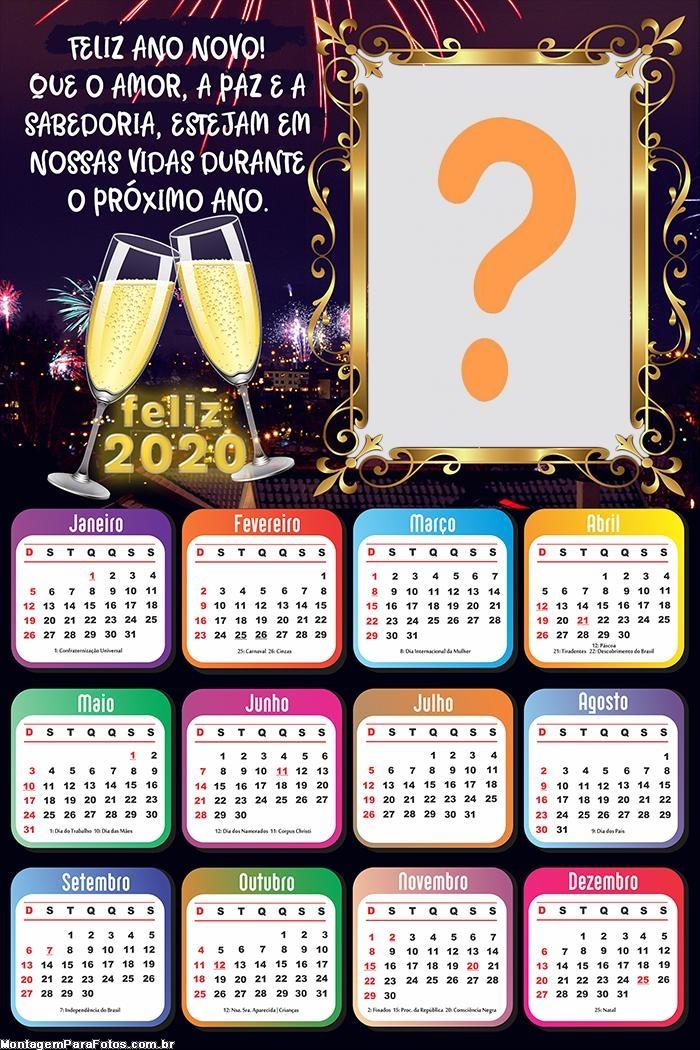 Calendário 2020 Frase Feliz Ano Novo