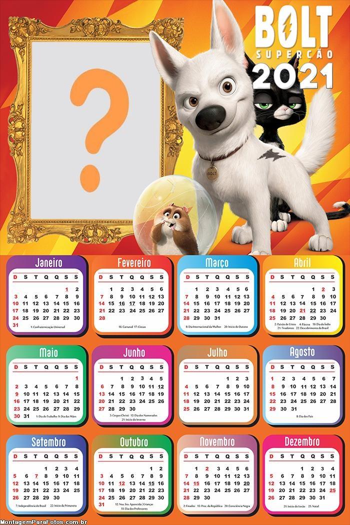 Calendário 2021 Bolt o Super Cão