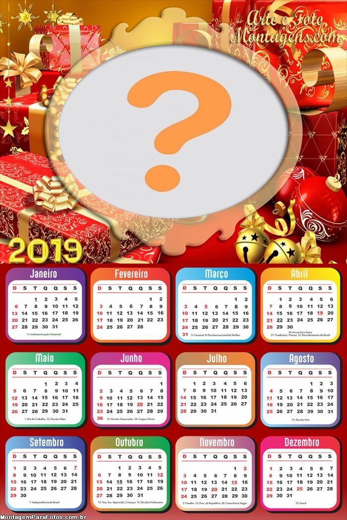 Calendário 2019 Natal Presentes Vermelho