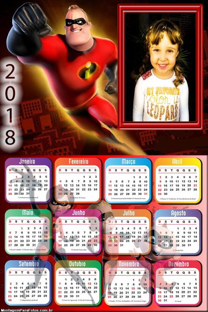 Calendário 2018 Senhor Incrível Desenho