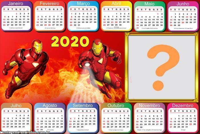 Calendário 2020 Horizontal Homem de Ferro