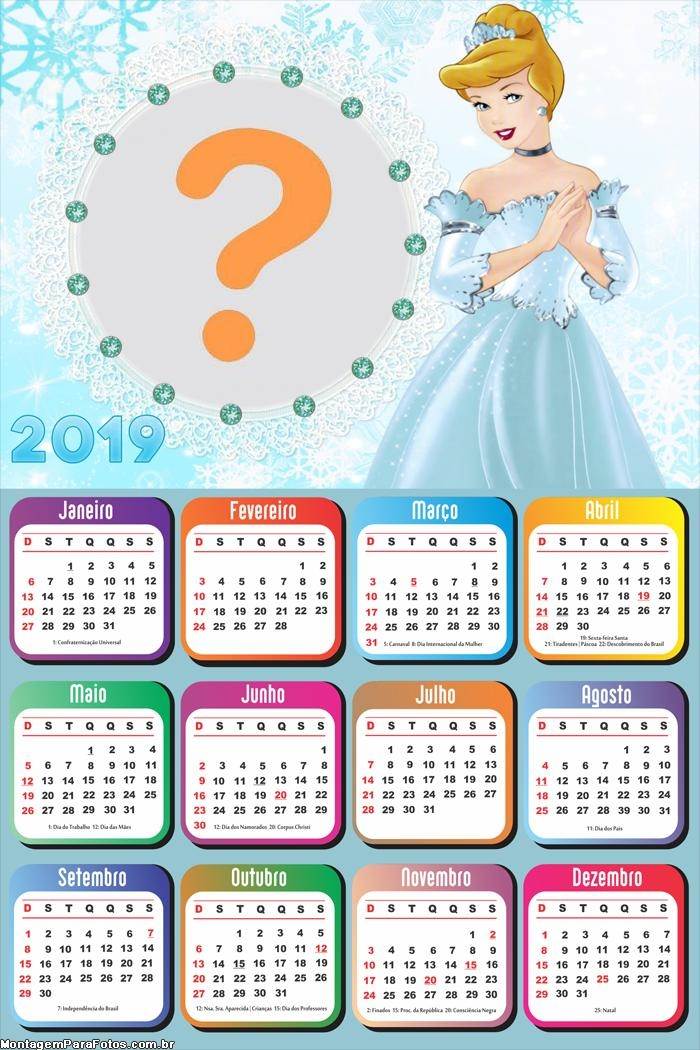 Calendário 2019 da Cinderela