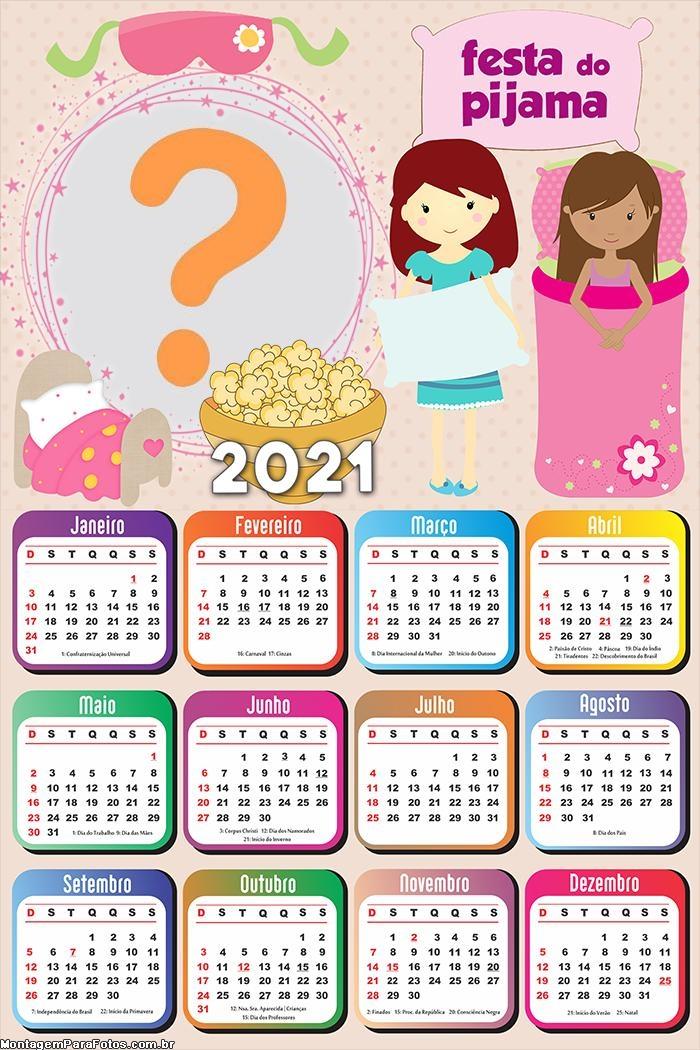 Calendário 2021 Pijama Montagem de Fotos Online