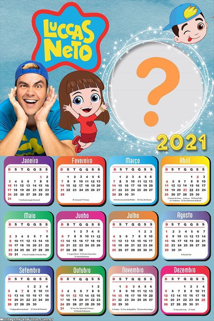 Calendário 2021 Gi e Luccas Neto Colagem de Foto