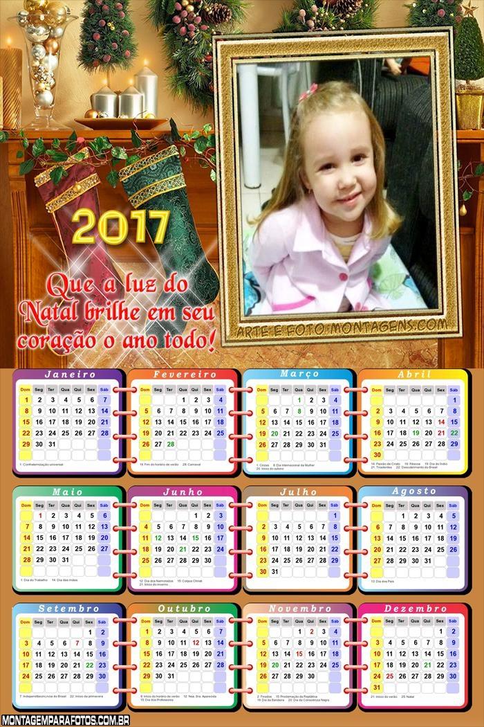 Calendário 2017 Mensagem Natalina