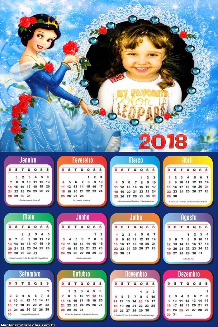 Calendário 2018 Branca de Neve Princesa