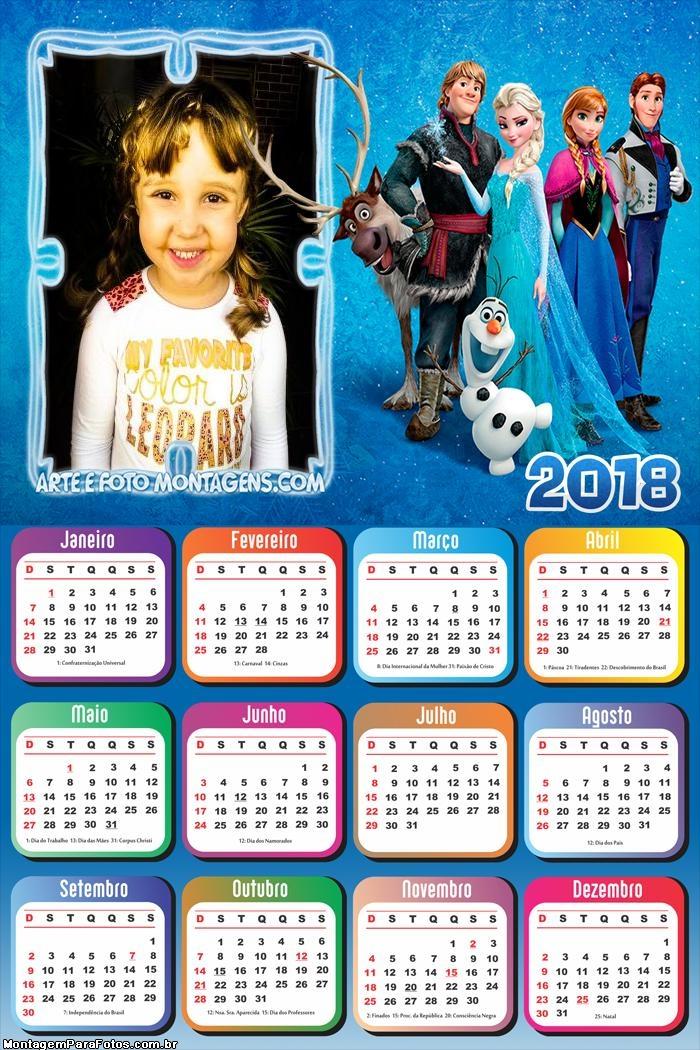 Calendário 2018 Frozen Infantil