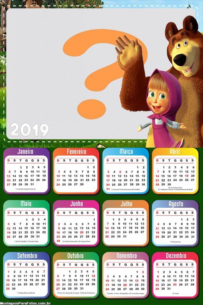 Calendário 2019 Masha e o Urso Desenho