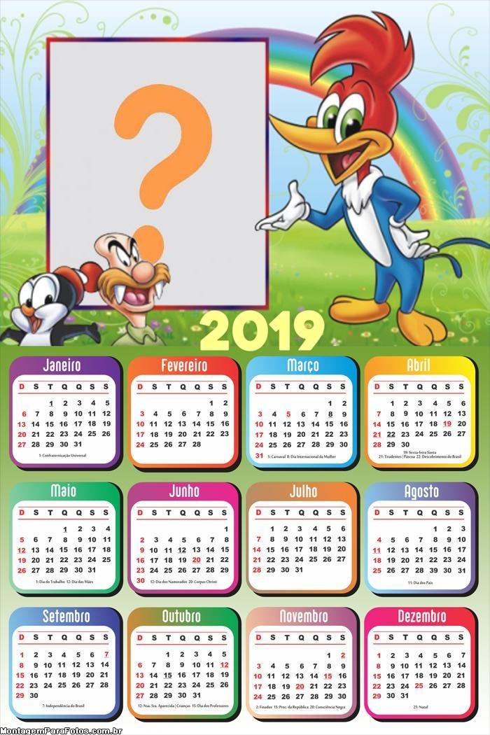Calendário 2019 Pica Pau Personagens