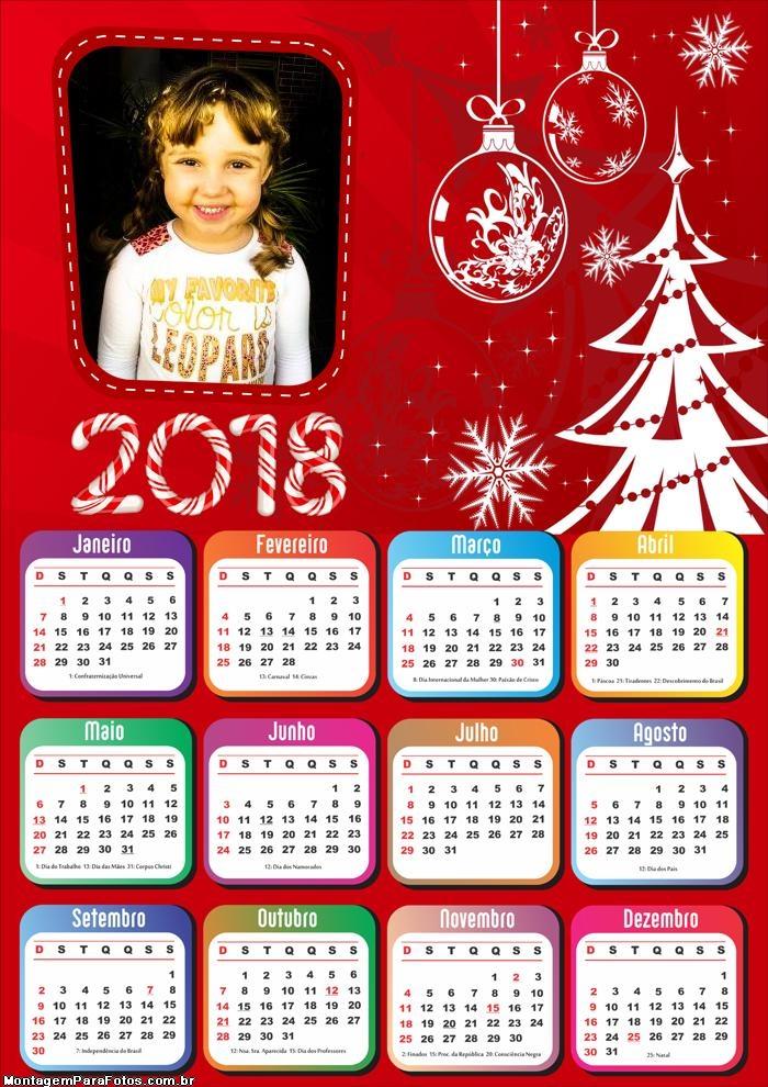 Montagem Calendário 2018 Cartão de Natal