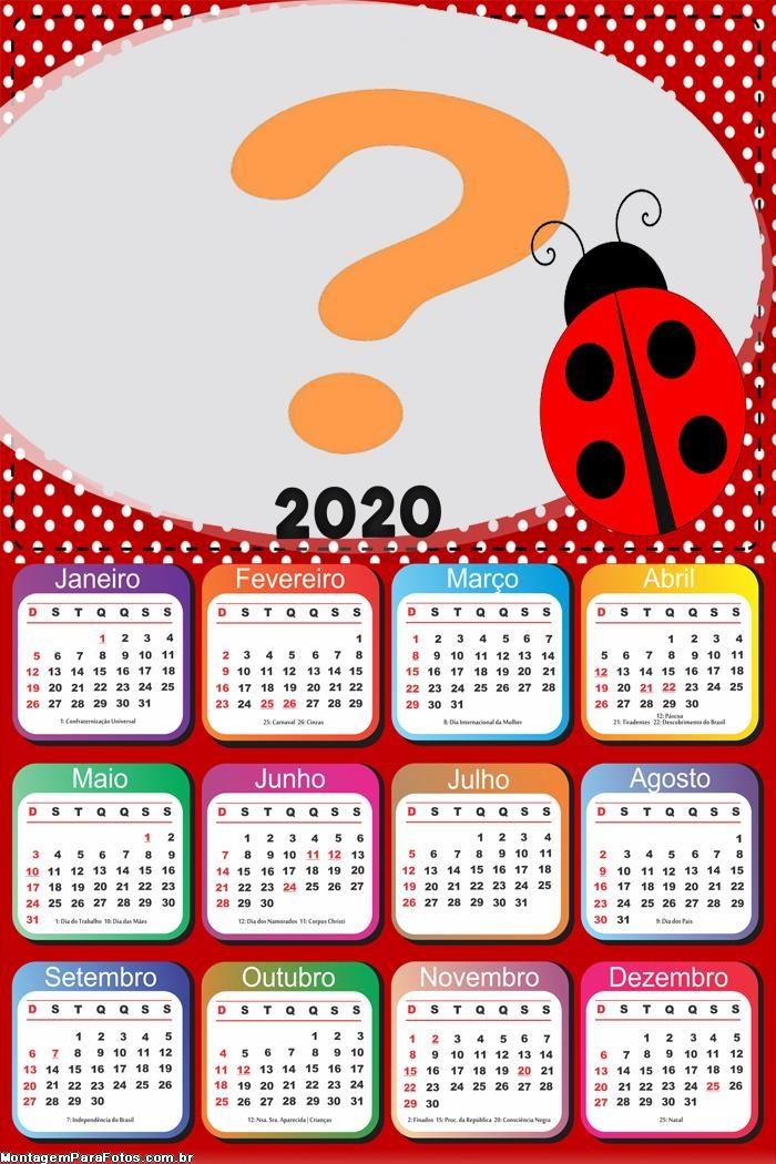 Calendário 2020 Joaninha Tema Aniversário