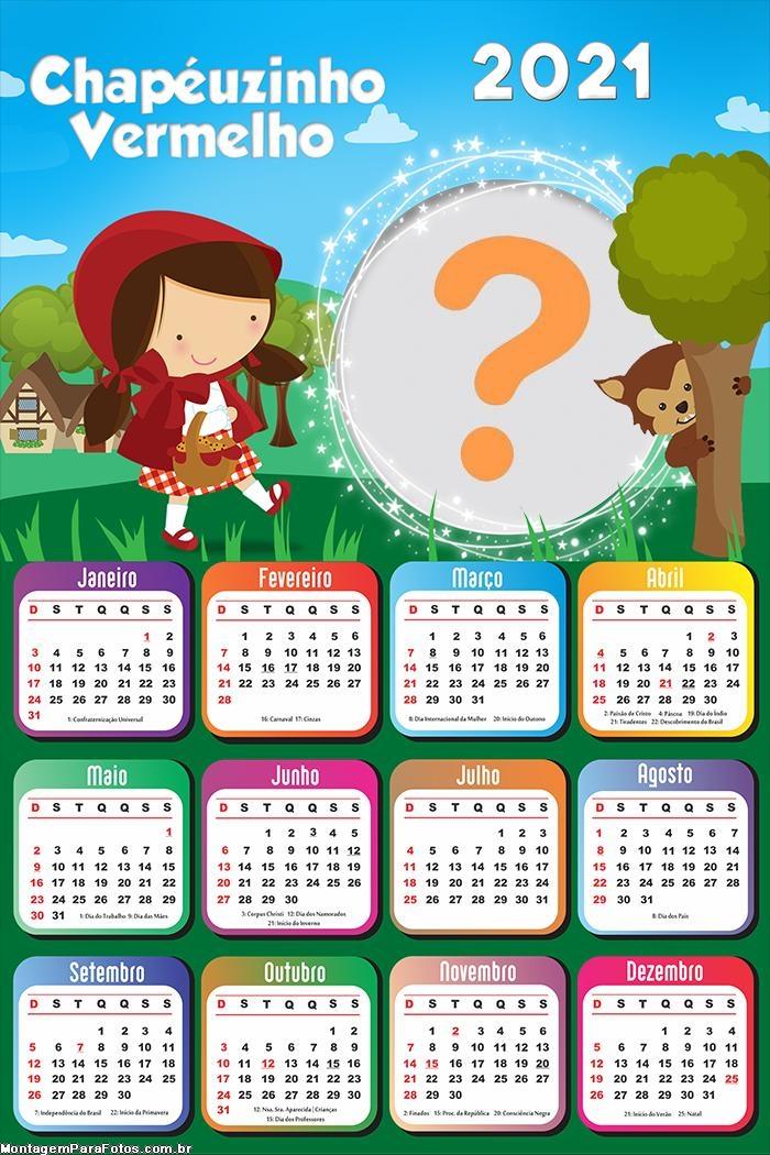 Calendário 2021 Chapéuzinho Vermelho