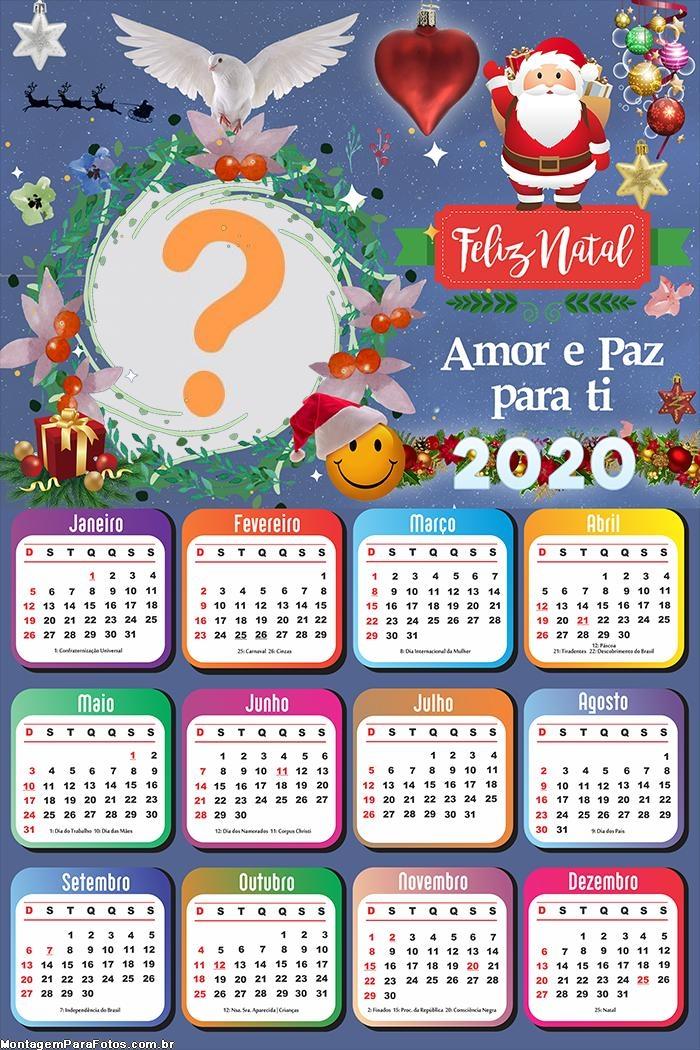 Calendário 2020 Amor e Paz para Você