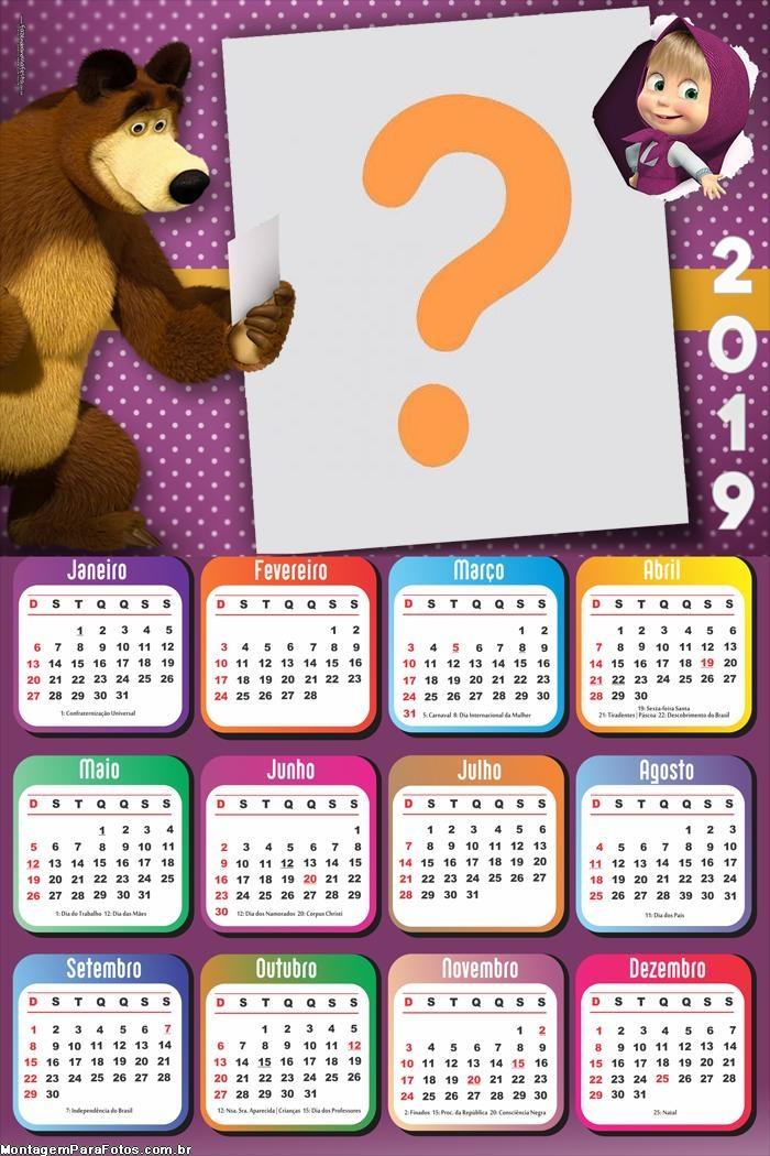 Calendário 2019 Mash e o Urso