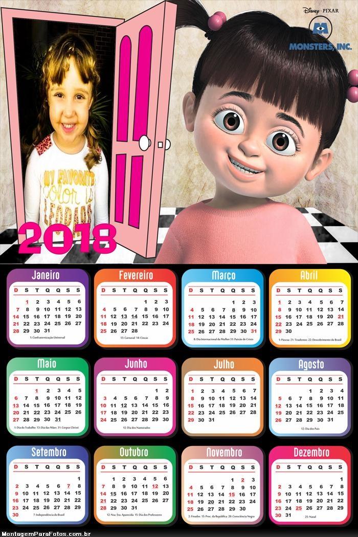 Calendário 2018 Menininha Mostro S.A