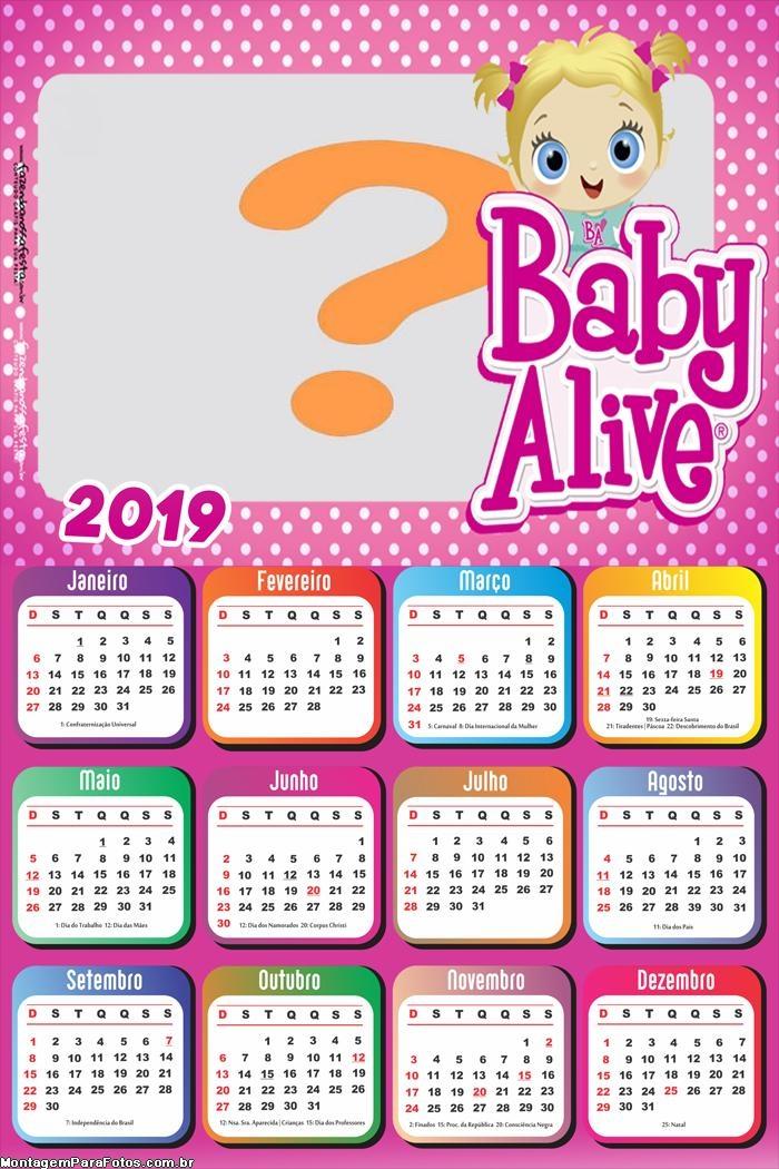 Calendário 2019 Baby Alive