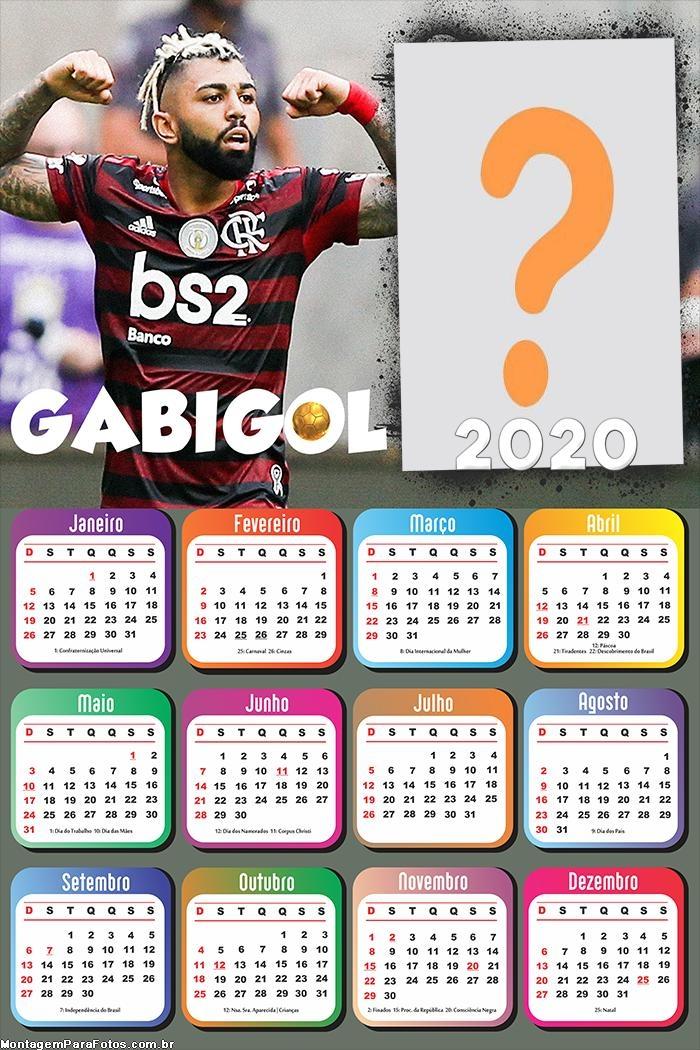 Calendário 2020 do Gabigol Jogador