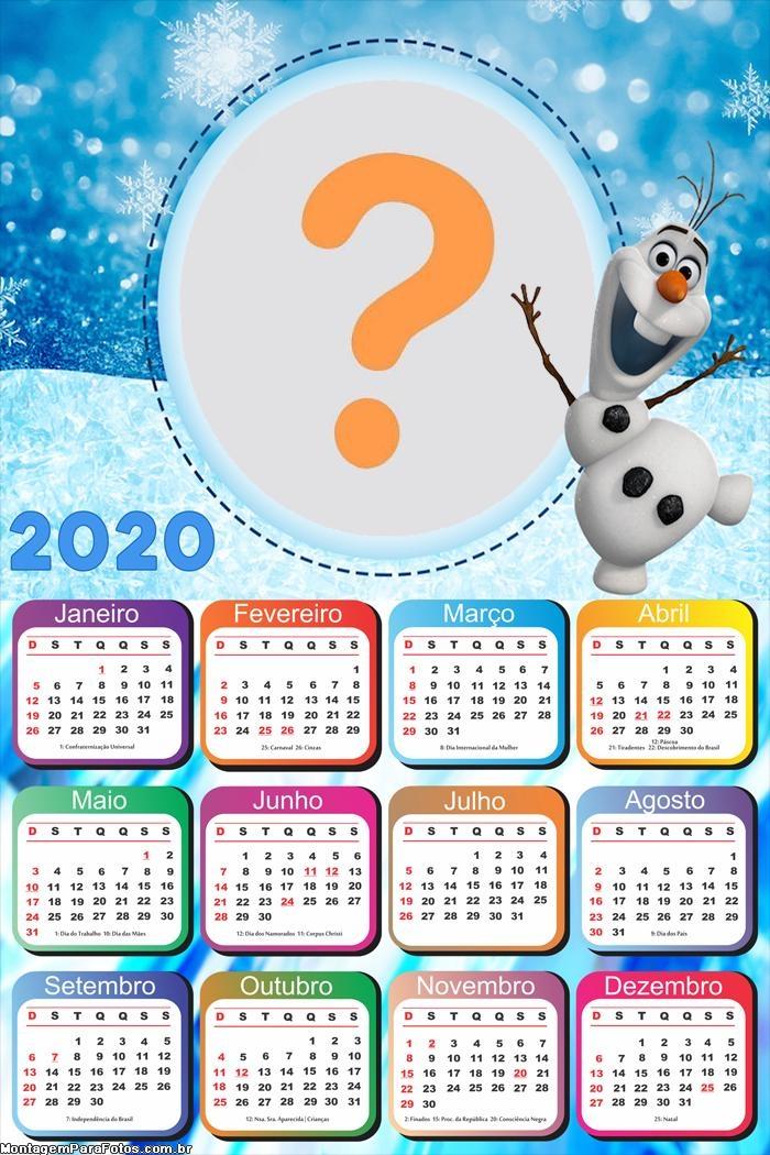 Calendário 2020 Olaf Frozen Moldura Infantil