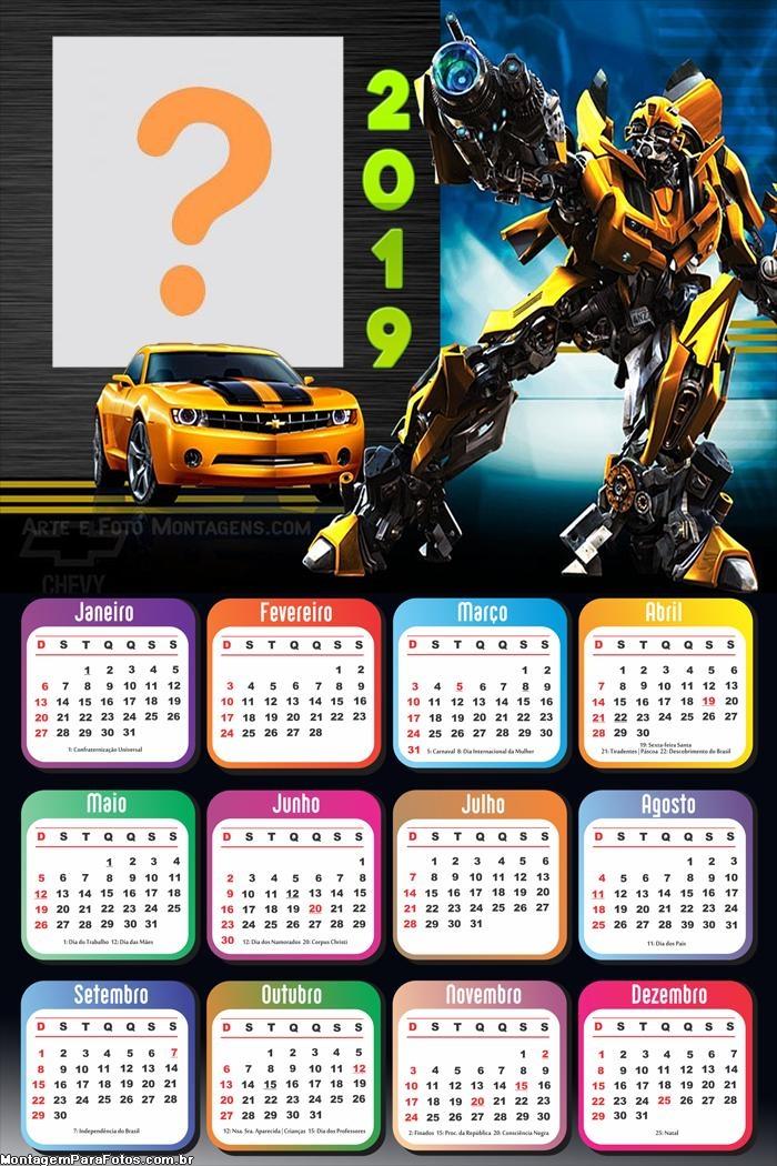 Calendário 2019 Transformes