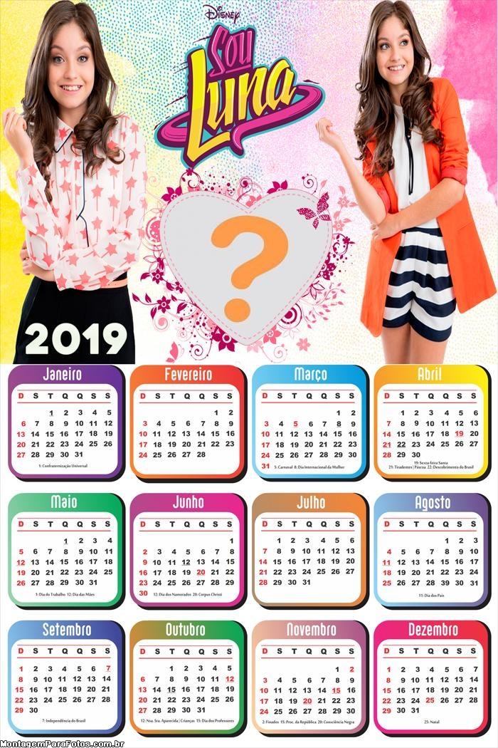 Calendário 2019 Sou Luna
