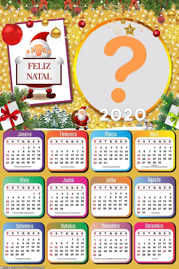 Calendário 2020 Um Feliz Natal Enfeitado