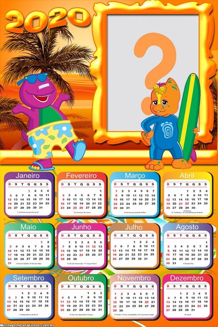 Calendário 2020 Barney Máscara Digital
