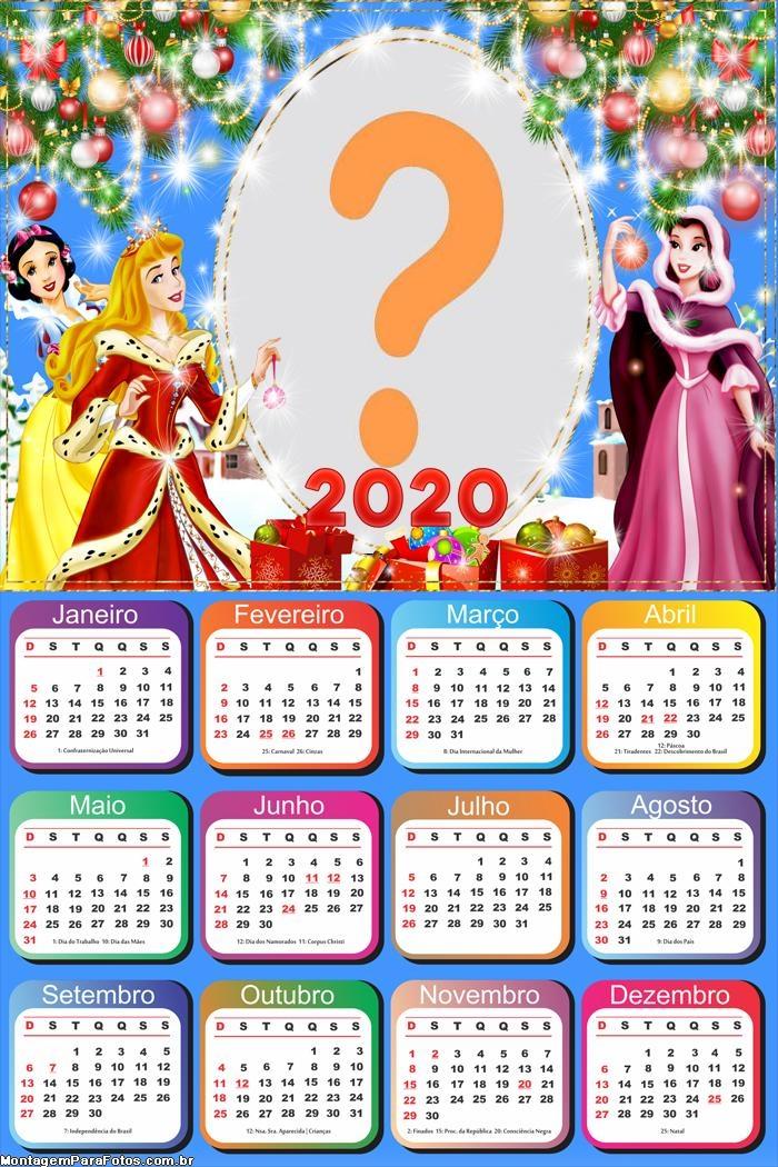 Calendário 2020 Princesas Natal Montagem de Fotos